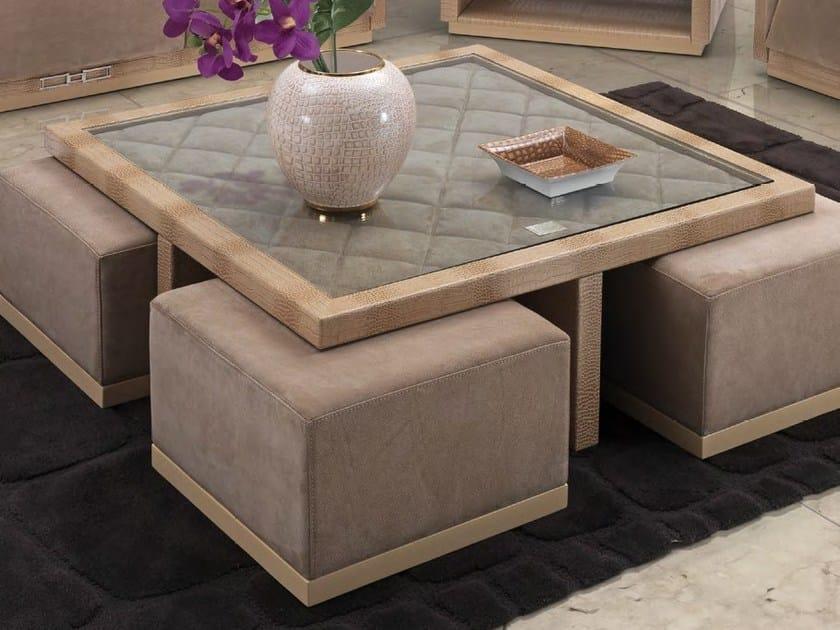 Tavolino basso quadrato in pelle da salotto TRAFALGAR | Tavolino by Formitalia