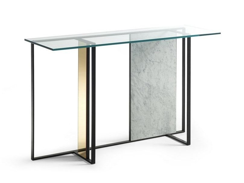 Lacquered rectangular glass console table TRAME | Console table by ROCHE BOBOIS