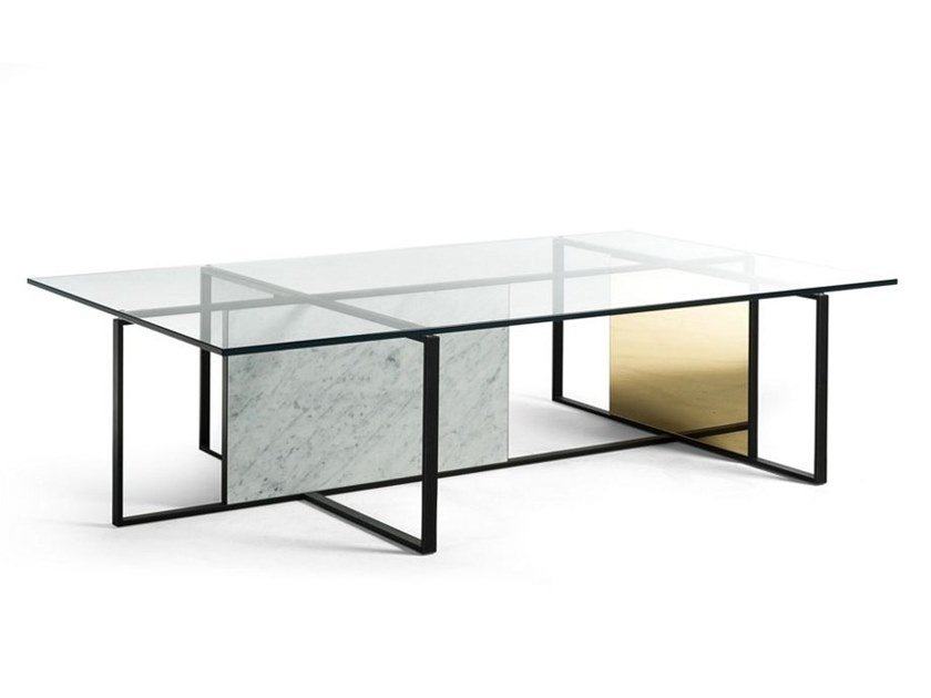 Low rectangular glass coffee table TRAME | Rectangular coffee table by ROCHE BOBOIS