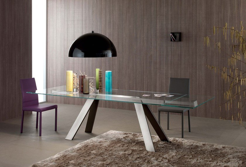 Extending glass and aluminium table TRANSPARENCE | Extending table by Italy Dream Design