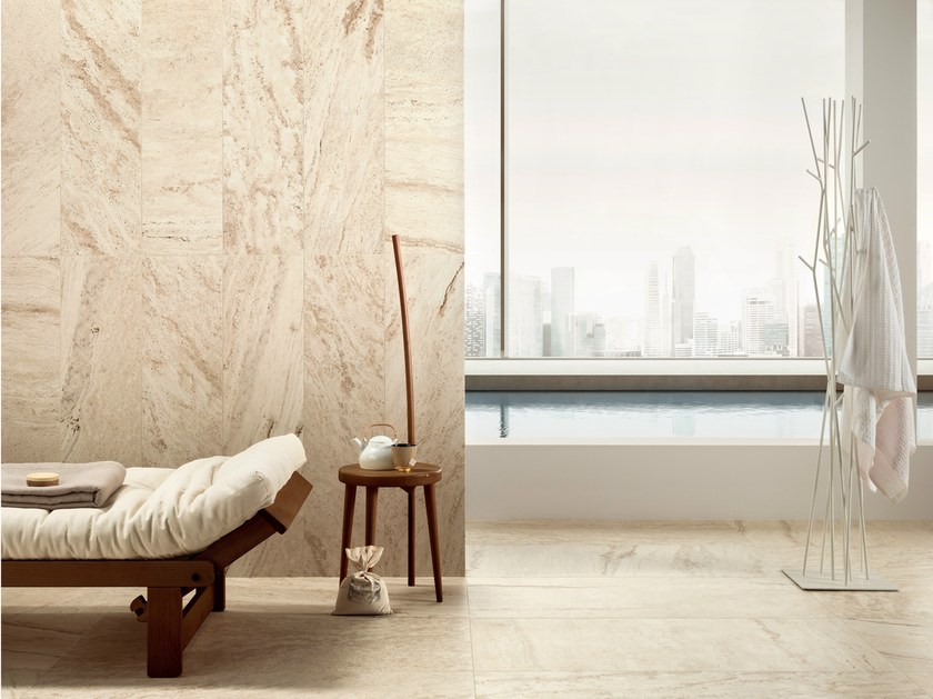 Porcelain stoneware wall/floor tiles with travertine effect TRAVERT BEIGE by ASTOR CERAMICHE