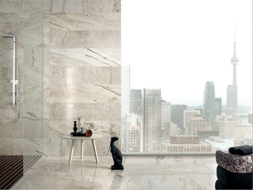 Porcelain stoneware wall/floor tiles with travertine effect TRAVERT GRIGIO by ASTOR CERAMICHE