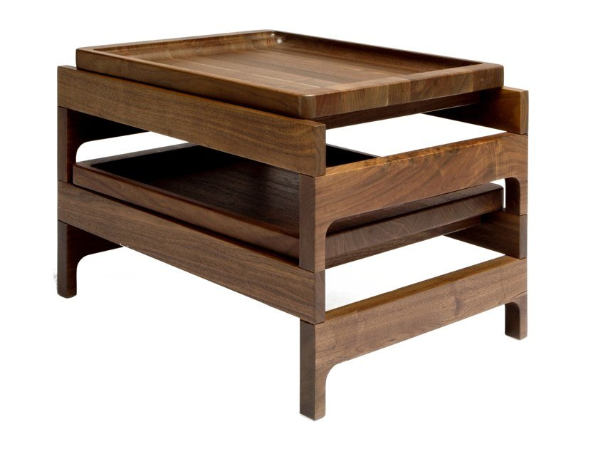 Solid wood side table with tray TRAY RACK by BassamFellows