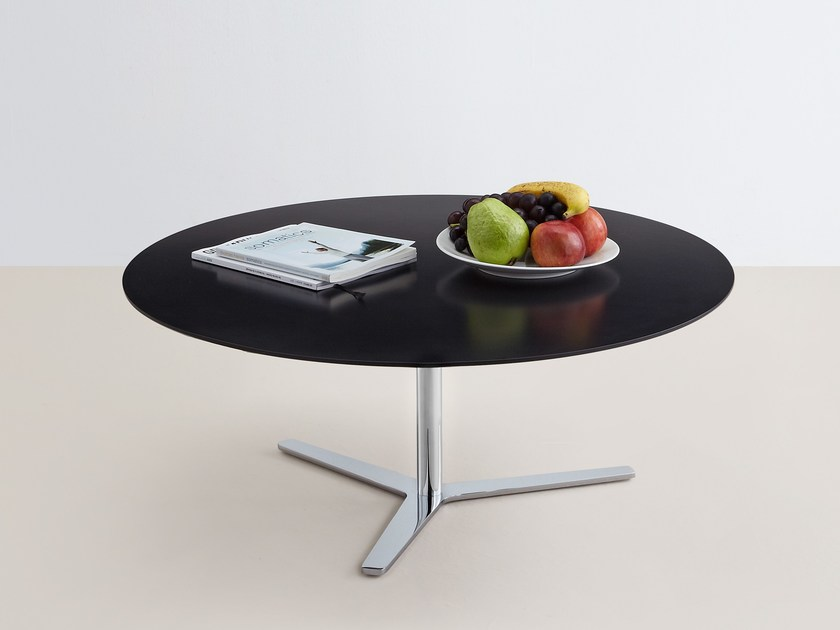 Low oval MDF coffee table TRE 90 by MOX