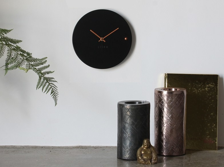 Wall-mounted wooden clock TRE BLACK COPPER SMALL by xline