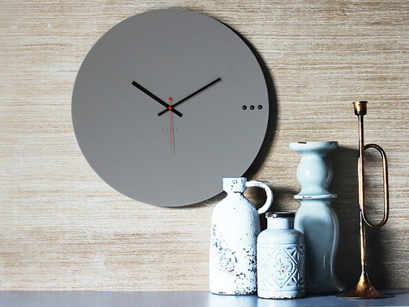 Wall-mounted wooden clock TRE GREY by xline