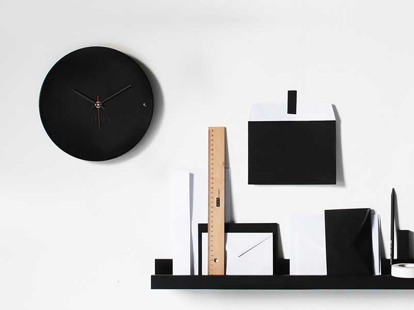 Wall-mounted wooden clock TRE SMALL BLACK by xline