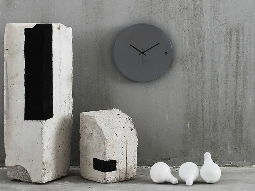 Wall-mounted wooden clock TRE SMALL GREY by xline