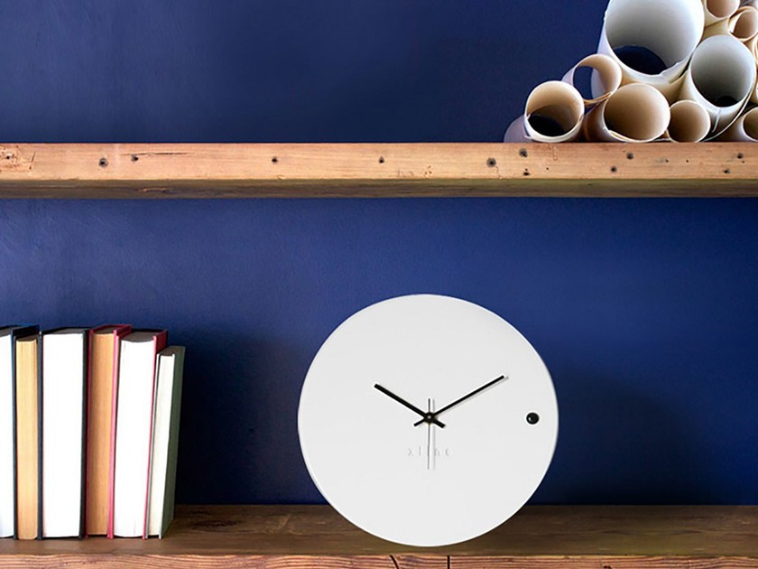 Table-top wall-mounted wooden clock TRE SMALL WHITE by xline