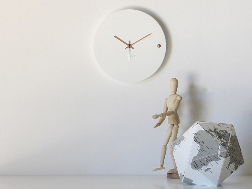 Wall-mounted wooden clock TRE WHITE COPPER SMALL by xline