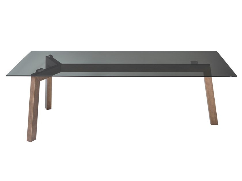 Rectangular crystal table with titanium base TREBLE by RIFLESSI