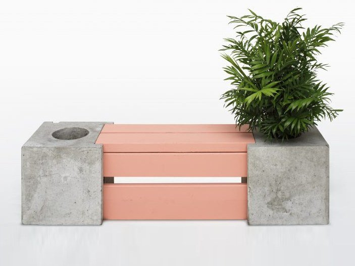 Sectional concrete Bench with Integrated Planter TREE BLOCK by AtelierB