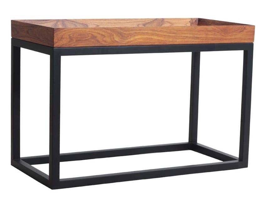 Rectangular teak coffee table with tray TREI | Rectangular coffee table by ALANKARAM