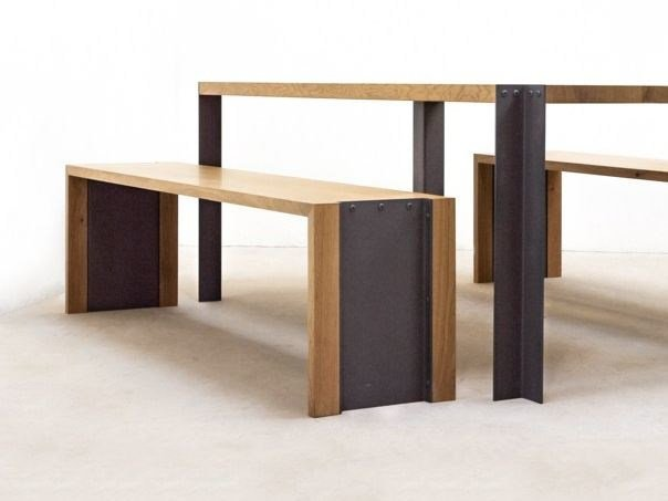 Steel and wood bench TREK | Bench by MALHERBE EDITION