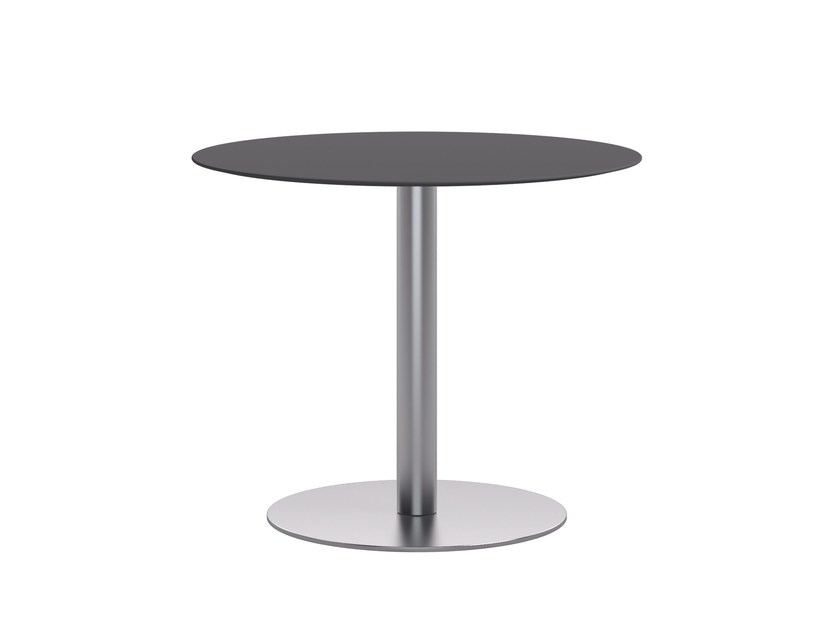 Brushed steel table base TREND T by Atmosphera