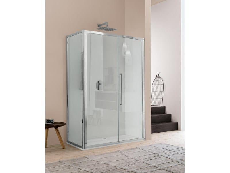 Corner glass shower cabin with hinged door TRENDY - 4 by INDA®