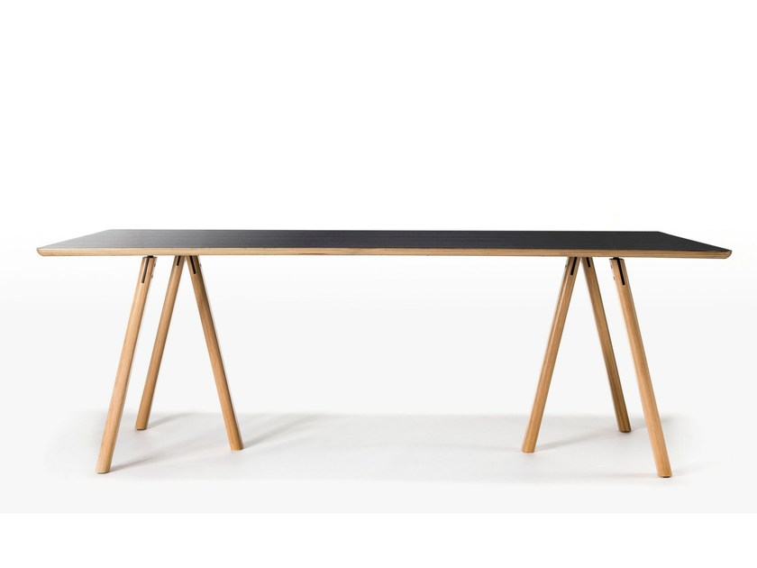 Rectangular wooden table TRESTLE by Feelgood Designs
