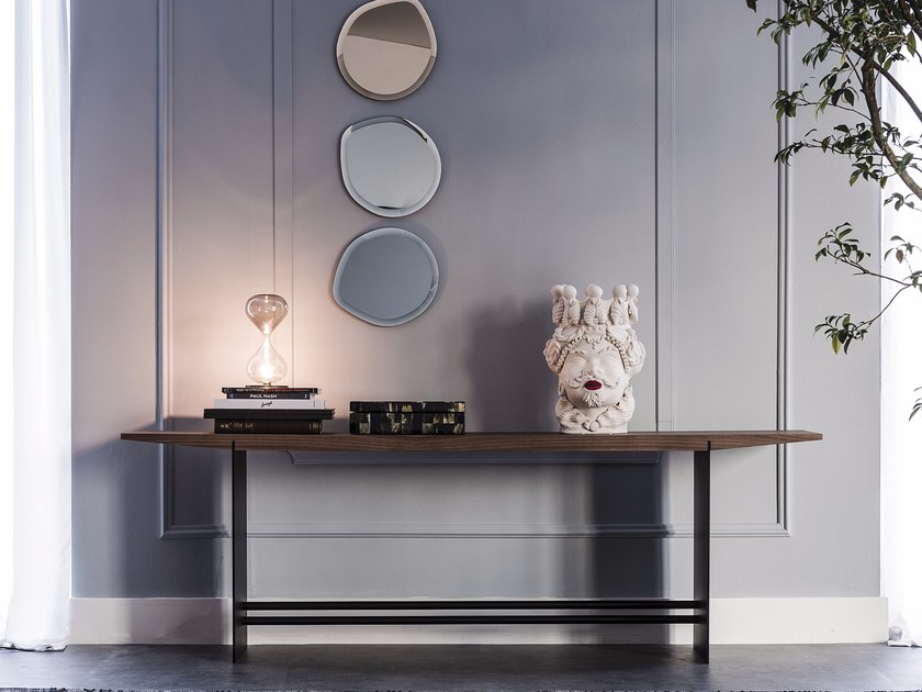 Rectangular steel and wood console table TREVI by Cattelan Italia