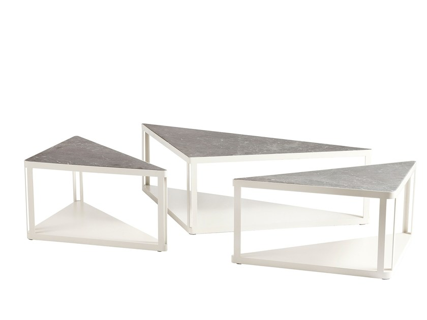 Modular triangular marble coffee table TRI-ZONE by KONTRA