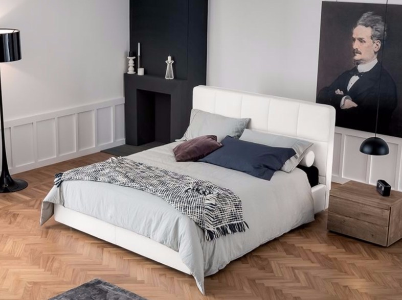 Upholstered fabric double bed TRIA by Dall'Agnese