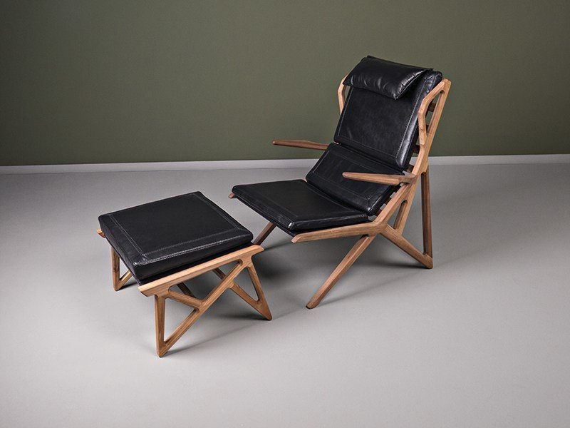 Leather armchair with armrests with footstool TRIANGLE | Armchair by HOOKL und STOOL