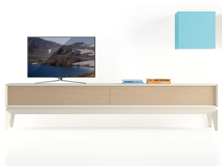 Contemporary style lacquered beech TV cabinet with drawers TRIANGLE SOFT by BeKreative