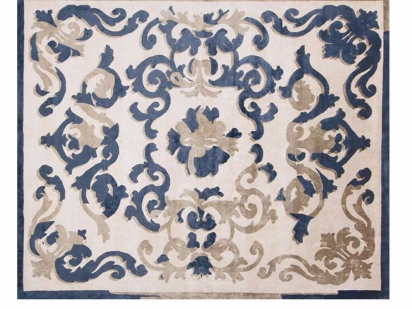 Patterned handmade rectangular rug TRIANON GHOST DEEP BLUE by EDITION BOUGAINVILLE