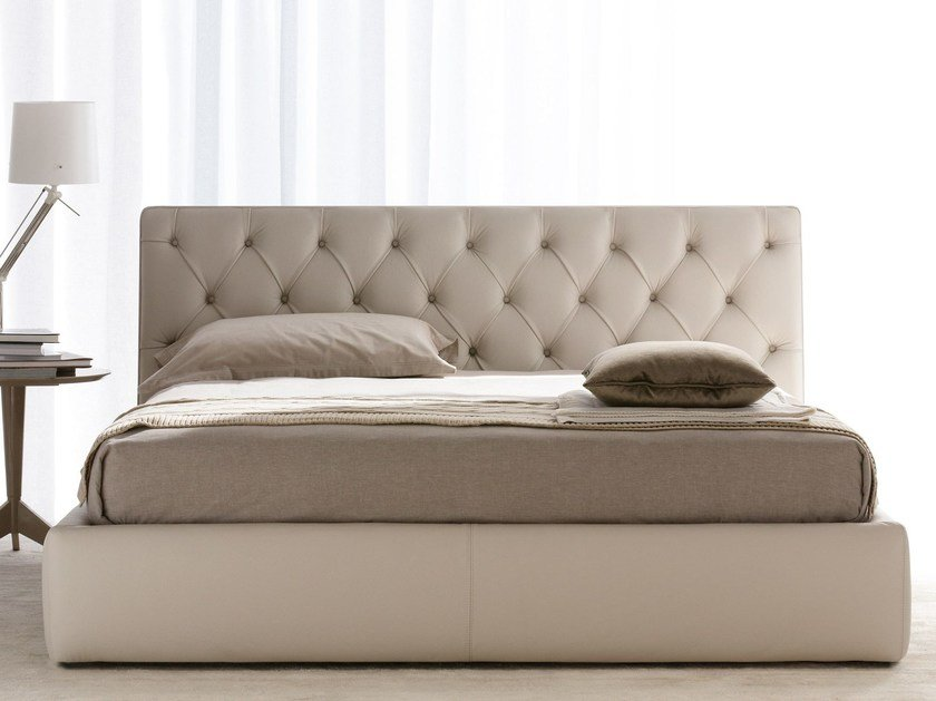 Leather bed with tufted headboard TRIBECA by BertO