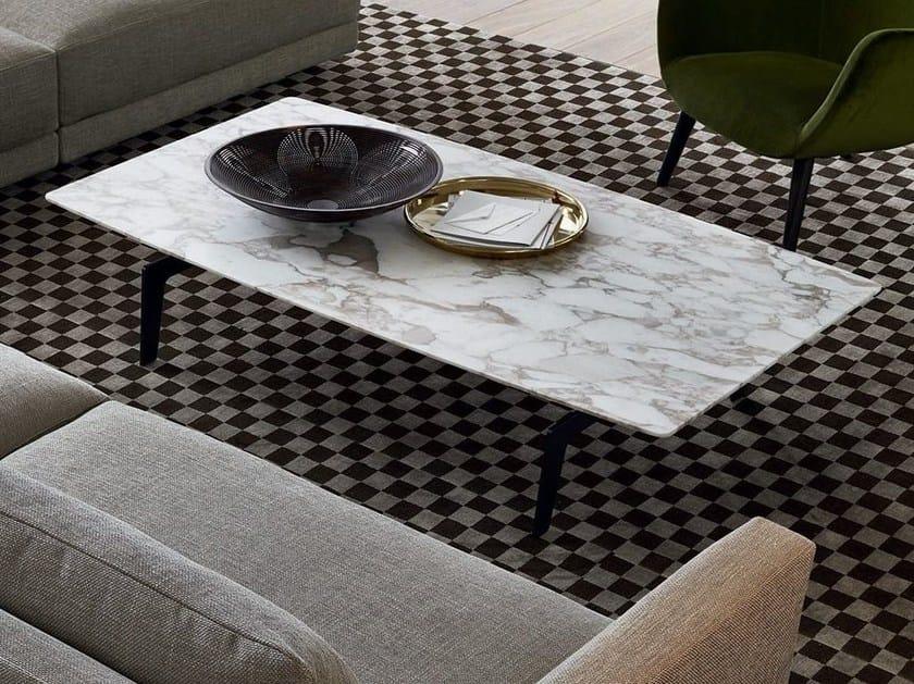 Tavolino basso rettangolare in marmo in stile moderno da salotto TRIBECA | Tavolino rettangolare by poliform