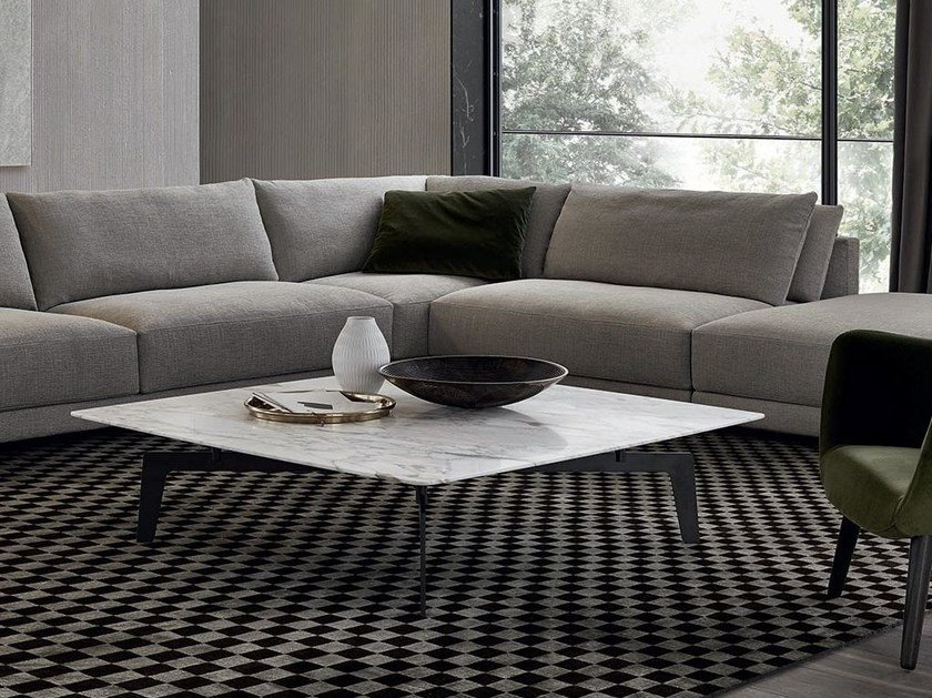 Square marble coffee table TRIBECA | Square coffee table by poliform