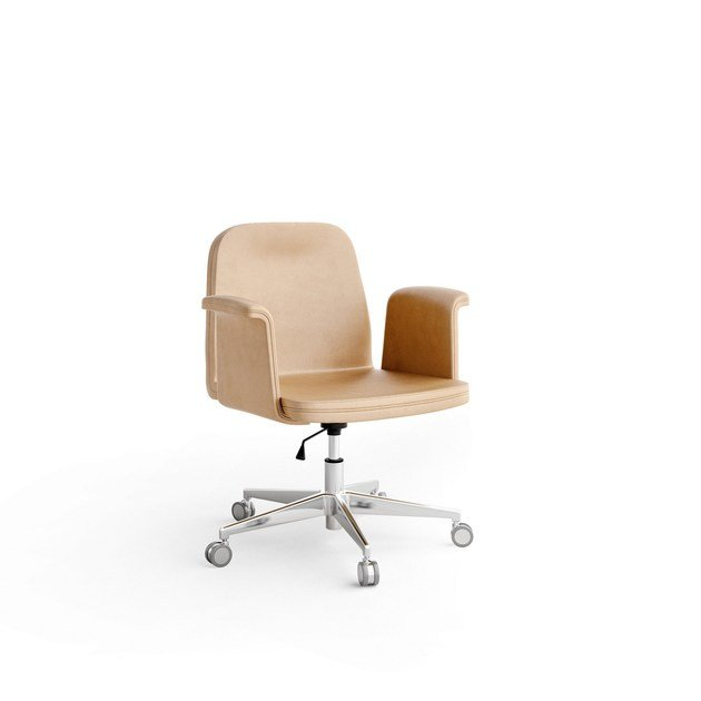 Height-adjustable leather task chair with armrests with casters TRIBUNE | Task chair with casters by Caroti
