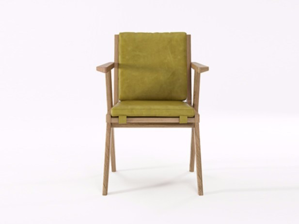 Upholstered leather chair with armrests TRIBUTE TB09-O by KARPENTER