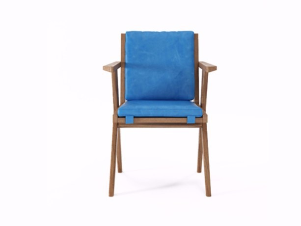 Upholstered leather chair with armrests TRIBUTE TB09-T by KARPENTER