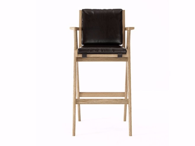 Upholstered leather counter stool with armrests TRIBUTE TB11-O by KARPENTER