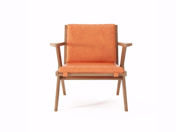 Leather easy chair with armrests TRIBUTE TB13-O by KARPENTER