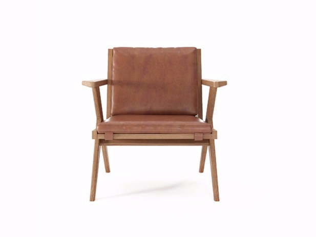 Leather easy chair with armrests TRIBUTE TB13-T by KARPENTER