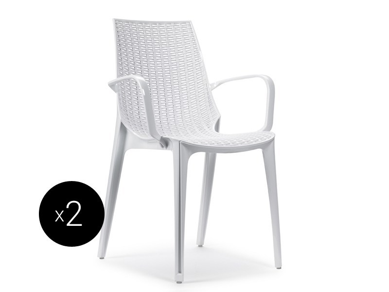 Stackable polycarbonate chair with armrests TRICOT | Chair with armrests by SCAB DESIGN