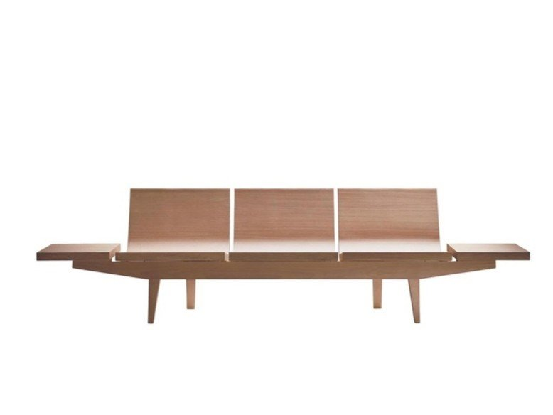 Oak bench with back TRIENAL BC7004 by Andreu World