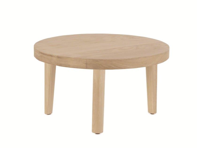 Low round oak coffee table TRIO by EXPORMIM