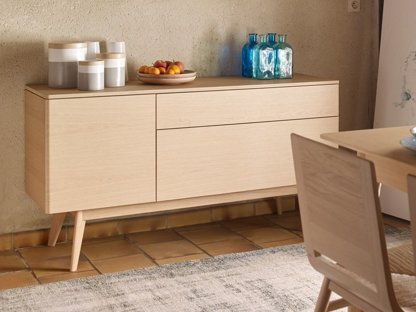 Wooden sideboard with drawers TRIO by HENRI TUJAGUE