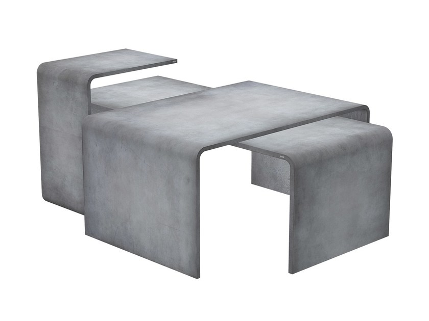 Low modular rectangular concrete coffee table TRIO SET by Gravelli