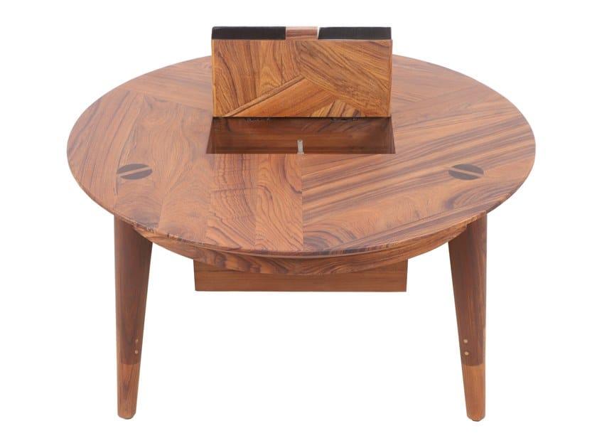 Round teak coffee table with cables box TRIPADI | PC coffee table by ALANKARAM