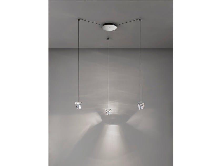 LED crystal pendant lamp TRIPLA 3 SPOTS by Fabbian