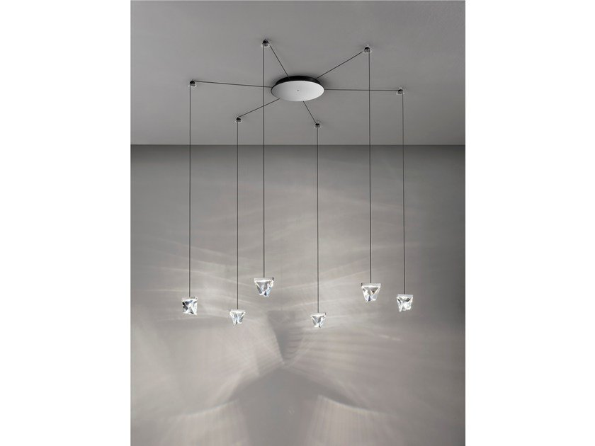 LED crystal pendant lamp TRIPLA 6 SPOTS by Fabbian
