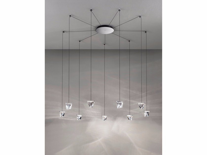 LED crystal pendant lamp TRIPLA 9 SPOTS by Fabbian