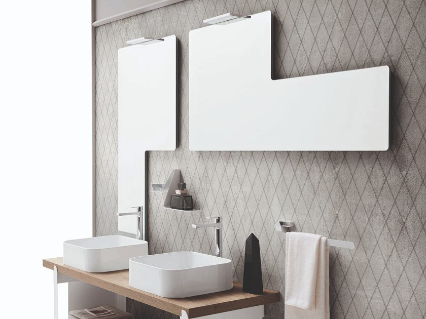 Wall-mounted bathroom mirror with integrated lighting TRIS by ARBLU