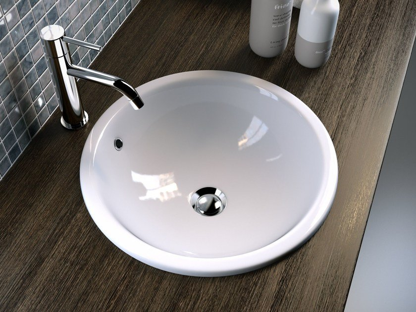 Round undermount washbasin TRIS | Inset washbasin by Olympia Ceramica