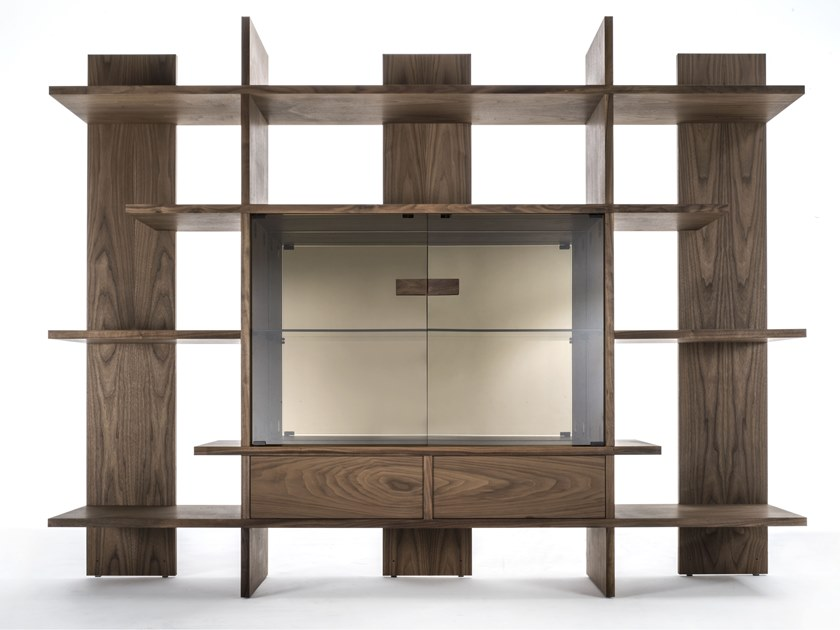 Wood veneer storage wall TRITOK by Riva 1920