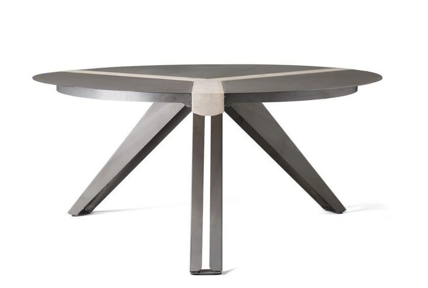 Round steel and wood table TRIVOLTA by Officine Tamborrino