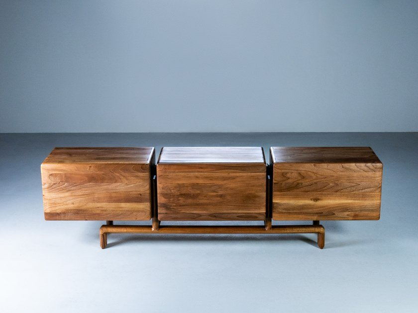 Solid wood sideboard with doors TRODEL by HOOKL und STOOL